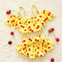Dailiwei Baby Girls Lovely Cherry Print  Swimwear Summer Beach Toddler Bathing Suit Children Two Pieces Suits Kids Girl Swimsuit
