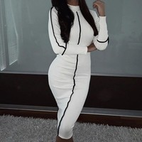 Women Autumn Winter Slim Sexy Dress Turtleneck Long Sleeve Mid-calf Dress Patchwork Women Bodycon Dresses