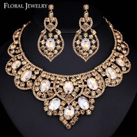 Champagne Austrian Crystal Bridal Statement Necklace Earrings Jewelry Sets for Women African Beads Indian Jewelry Set TL398