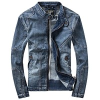 Denim Jackets Men Dark Blue Casual Denim Coat Standing Collar Long Sleeve Denim Bomber Jacket Retro Motorcycle Men Jacket Coats