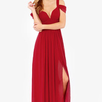 Chiffon Shoulder Cut-Out V-Neck Sheath A-Line Pleated Maxi Dress
