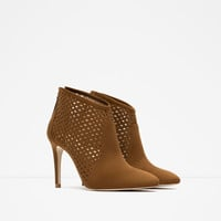 CUT WORK HIGH HEEL ANKLE BOOTS