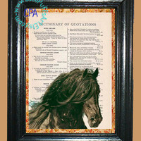 Black Beauty - - Vintage Dictionary Book Page Art-Upcycled Page Art,Wall Art,Collage Art, black horse - Horse print
