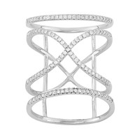 Cubic Zirconia Sterling Silver Free-Form X Ring (White)