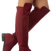 Burgundy Faux Suede Two Toned Knee High Boots