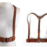 """25"""" - 31"""" waist brown faux leather cage body chain adjustable"""