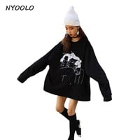 NYOOLO Japanese style Loose oversize clothing tops character embroidery batwing sleeve O-neck pullovers Sweatshirts women