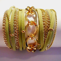 5X Wrap Bracelet with Olive Green Suede cord, 2 gold brass Chains and Twisted Rhombus gold Chain