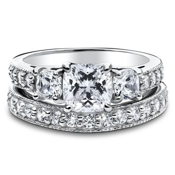 STERLING SILVER CUSHION CZ 3-STONE RING SET 2.79 CTW
