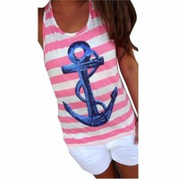 Camisas Femininas 2016 Sequin Anchor Women Stripe Tops Sleeveless TShirt Women Tee Shirt Femme