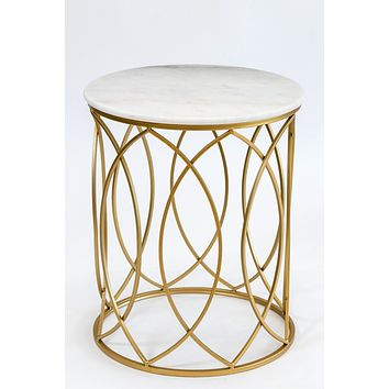 """20"""" Circlet Gold/White Marble Table- Metalle Collection"""