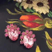 Half Price Sale Pink Glass Earrings, Rhinestones, 1950s Mid Century Vintage Jewelry SUMMER SALE