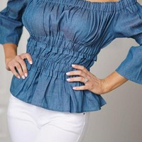 Blue Ruffle Backless Ruched Peplum Off Shoulder Bell Sleeve Denim Sweet Going out Blouse
