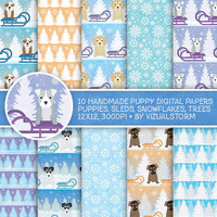 Winter Puppy Digital Paper, Winter Pet Scrapbooking Cute Puppy Holiday Backgrounds For Kids Sleds, Snowflakes, Christmas Puppies, Pine Trees