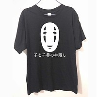 Japanese Style Spirited Away Letters Print T Shirt Cotton Short Sleeve Faceless Harajuku T-Shirt Summer Fashion Tops Tees