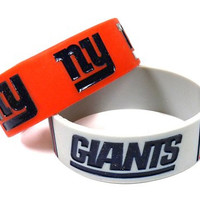 NFL New York Giants Rubber Silicone Bracelet Wrist Band Set 2Pack