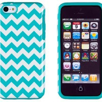 DandyCase 2in1 Hybrid High Impact Hard Aqua & White Chevron Pattern + Silicone Case Cover For Apple iPhone 5C + DandyCase Screen Cleaner