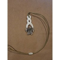 Bone with Dark Mother of Pearl Infinity Honu Adjustabe Necklace