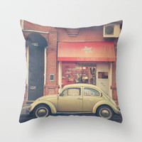 Beige Volkswagen Bug and a lovely Pink Shop (Vintage - Retro Urban Photography) Throw Pillow by Andrea Caroline    Society6