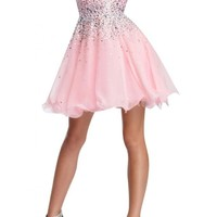 Angel Bride Short Strapless Cocktail Chiffon Holiday Party Prom Dresses with Sequins