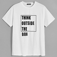 Fashion Casual Men Drop Shoulder Slogan Graphic Tee