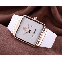 Givenchy Watch Trending Square Gold Edge Women Men Lovers Watch White