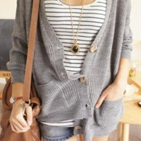 New oversize boyfriend grey knit cardigan from zamong-boutique