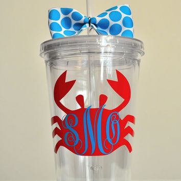 Monogrammed crab tumbler. 16 ounce cups.