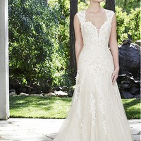 [188.99] Attractive Polka Dot Tulle & Satin Sweetheart Neckline A-Line Wedding Dresses With Beaded Lace Appliques - dressilyme.com