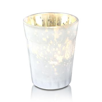 Vintage Mercury Glass Candle Holder (3.25-Inch, Katelyn Design, Column Motif, Pearl White) - For Use with Tea Lights - For Home Decor, Parties and Wedding Decorations