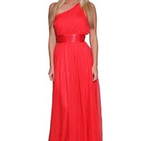 Women's One Shoulder Beaded Waist Maxi Red Evening Dress