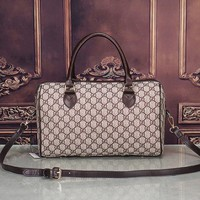 Gucci Women Leather Flower Print Luggage Travel Bags Tote Handbag H