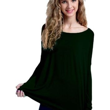 Girls Authentic Long Sleeve Piko,  Forest Green