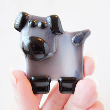 Unique Dog Magnet - Stocking Stuffer - Dog Lover Gift - Fused Glass Magnet - Fridge Magnet - Dog Decor - One of a Kind Gift - Kitchen Decor