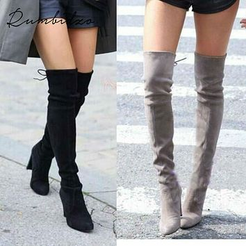 Rumbidzo Women Stretch Suede Slim Thigh High Boots Sexy Fashion Over the Knee Boots High Heels Woman Shoes Black Gray Winered