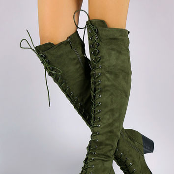 """Over The Knee Lace Up Almond Toe Chunky Boots Knee High Boots Heel Height: 2.75"""" Shaft Length: 21"""" (including heel) Top Opening Circumference: 16"""" Olive & Black & Taupe"""