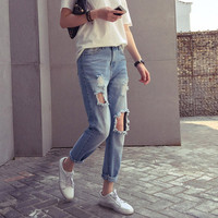 Fashion Women Hole Jeans Knee Big Hole Ankle-Length Loose Pencil Pants Vintage Washed Casual Ripped Jeans