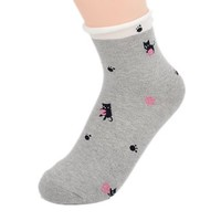 FunShop Woman's Cats and Polk Dots Pattern Cotton Ankel Socks in 2 Colors Dark Grey