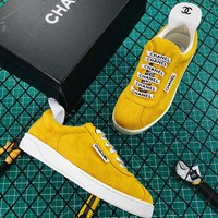 Cc Suede Calfskin Women Sneakers Yellow - Best Online Sale