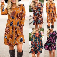 Women Country Flowers Dress Casual Loose O-neck Dress S-5XL