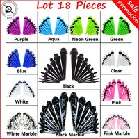 Lot18Pcs Ear Taper Stretcher Expander Gauge Kit Ear Tunnel Plugs Set Ear Piercing Starter Kit Body Jewelry 12 Colors For Choose