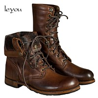 Leyou Mid Calf Boots for Mens Vintage Boots Casual Shoes Fall Winter Martin Shoes Boots Riding Man Shoes Brand Casual Big Size