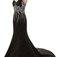 Sunvary Rhinestone Straps Mermaid Mother of the Bride Prom Dress Size 16- Black