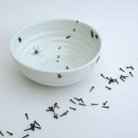 Ceramic Bowl - Handmade Porcelain Bowl with Ants and Bugs