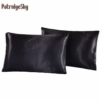 Russia US Size 2pcs 1pair Solid Color Silk Like Pillowcases Pillow case Pillow shams Bolster Twin Queen Cal-King Russia Double
