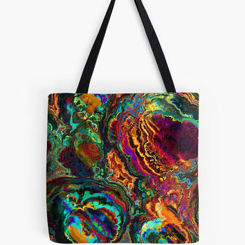 Custom made Tote bag, choice of multiple sizes. Shopping,colorful  abstract enamel liquid colors design
