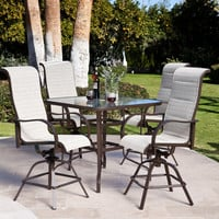5 Piece Patio Furniture Dining Set with Bar Height Sling Seats