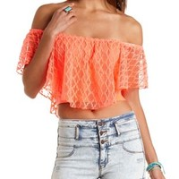 Crocheted Ruffle Crop Top by Charlotte Russe