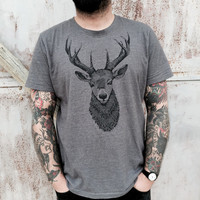 men's TSHIRT-with deer bust print. Handmade design. Screenprinting on high quality cotton tee. Color melange dark grey