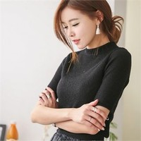 Short-Sleeve Rib-Knit Top